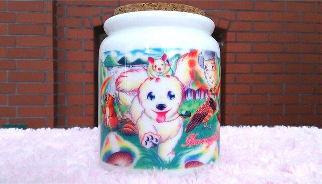 白い子犬と動物たちのメモリアルポットの画像1枚目