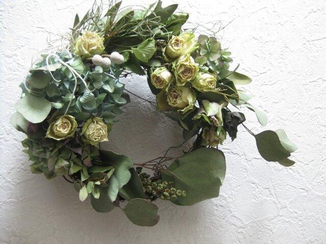 春のwreath-白バラの咲く庭の画像1枚目
