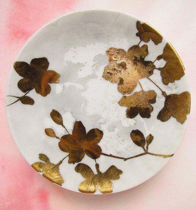 金彩の桜シルエット豆皿【手描き】の画像1枚目