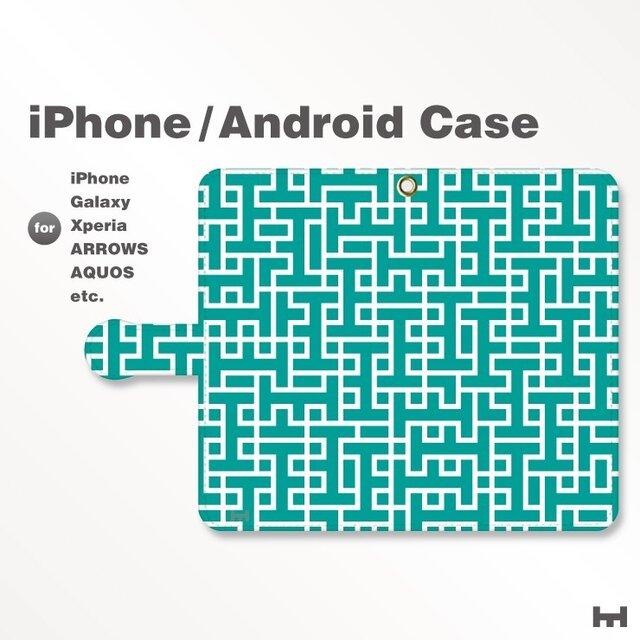 iPhone7/7Plus/Android全機種対応 スマホケース 手帳型 北欧風-ブランドロゴC 青緑 3306の画像1枚目