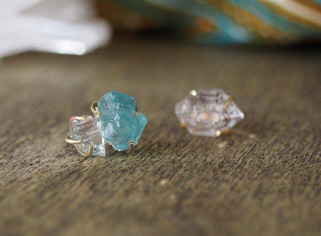 ダイヤモンドクォーツとアパタイトのピアスの画像1枚目
