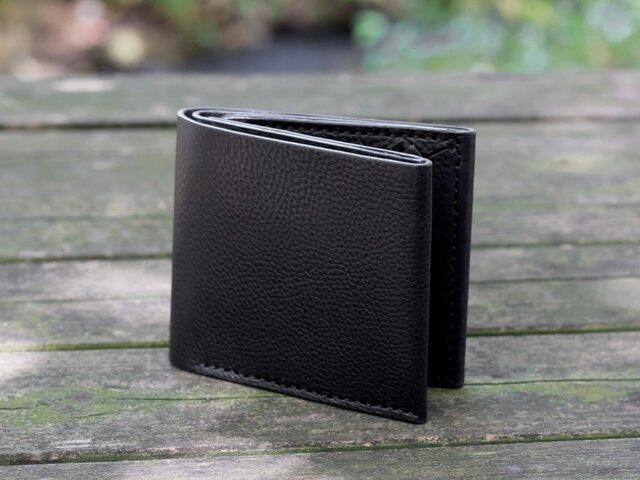 イタリア製牛革のシンプルな二つ折り財布 / ブラック※受注製作の画像1枚目