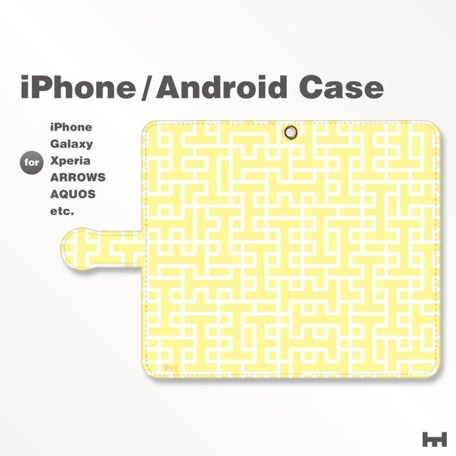 iPhone7/7Plus/Android全機種対応 スマホケース 手帳型 北欧風-ブランドロゴD イエロー-黄 3402の画像1枚目