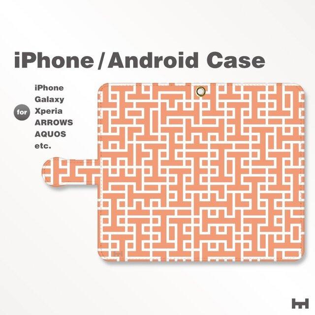 iPhone7/7Plus/Android全機種対応 スマホケース 手帳型 北欧風-ブランドロゴD レッド-赤 3407の画像1枚目