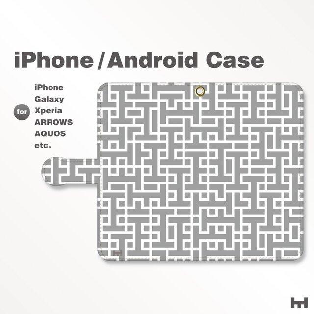 iPhone7/7Plus/Android全機種対応 スマホケース 手帳型 北欧風-ブランドロゴD モノトーン-白黒 3408の画像1枚目