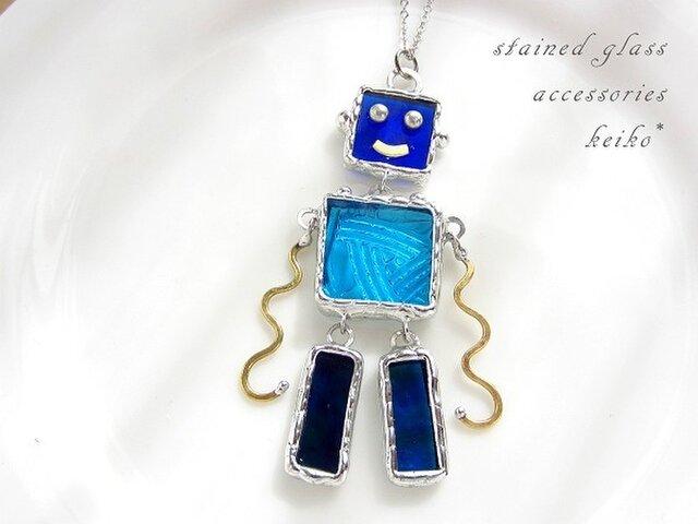 [sold]ステンドグラスのロボットネックレス(32)の画像1枚目