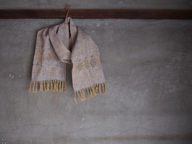 手織り/cotton-muffler 青藤色に3本透かし  (+orimi)の画像1枚目