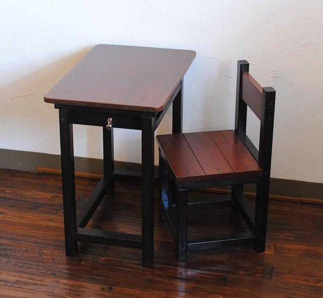★渋カワ!チャコールブラック&チークカラーのレトロな小さい勉強机と椅子セットの画像1枚目