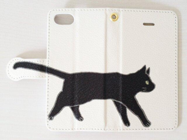 まっくろ黒猫しっぽスマホケース/手帳型の画像1枚目