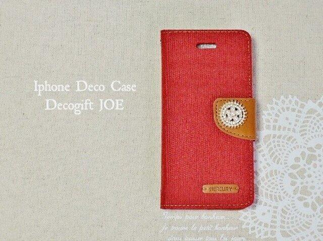 Phone6plus/6splus♡キャンバス生地×レザーがかわいい レッドの画像1枚目