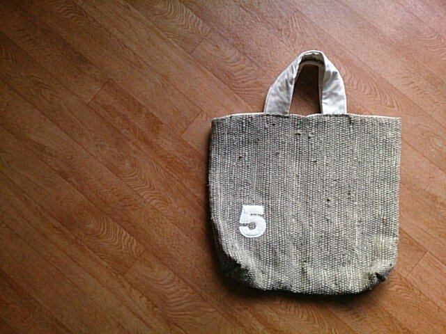 着物リメイク カーキ色の裂き織りバッグの画像1枚目