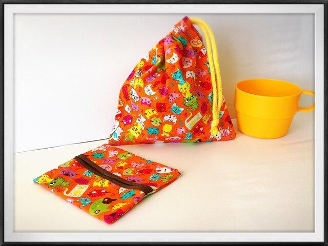 ミニ巾着とティッシュケース♪春色オレンジネコの画像1枚目