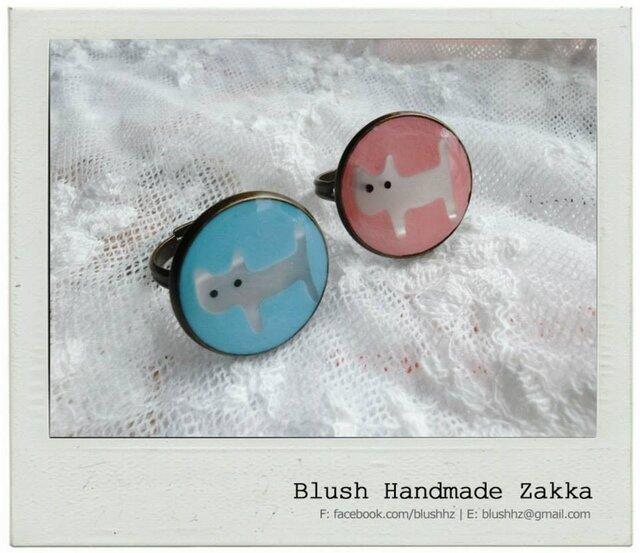 Blush Handmade Zakka:可愛い猫調節可能な銅リングの画像1枚目