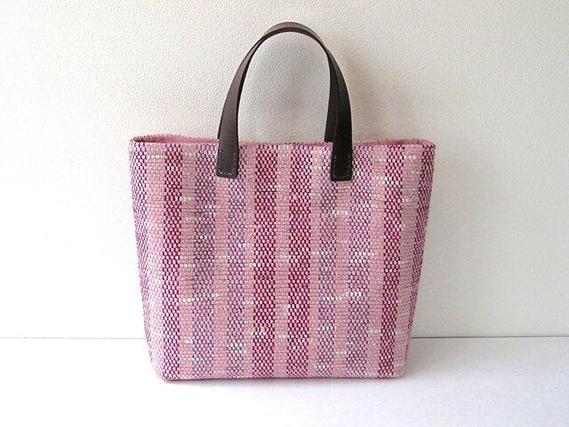 桜の並木道*裂き織りトートバッグの画像1枚目