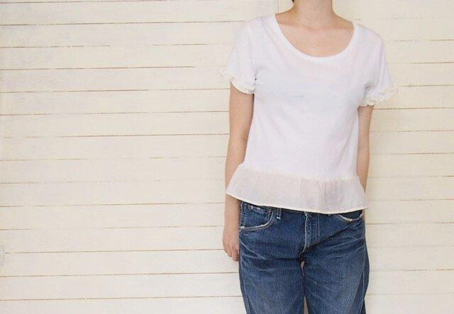 ホワイトフリルのリメイクTシャツの画像1枚目