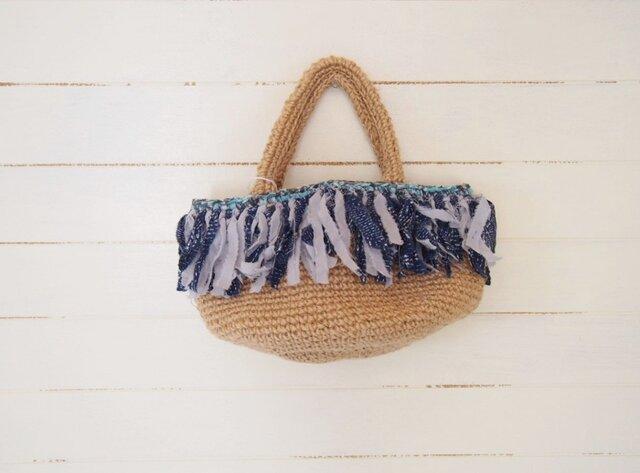 裂き編み フリンジ麻紐 丸底バッグの画像1枚目