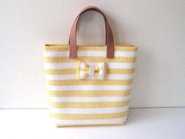 手織りウールのトートバッグ*リボンブローチ付きの画像1枚目