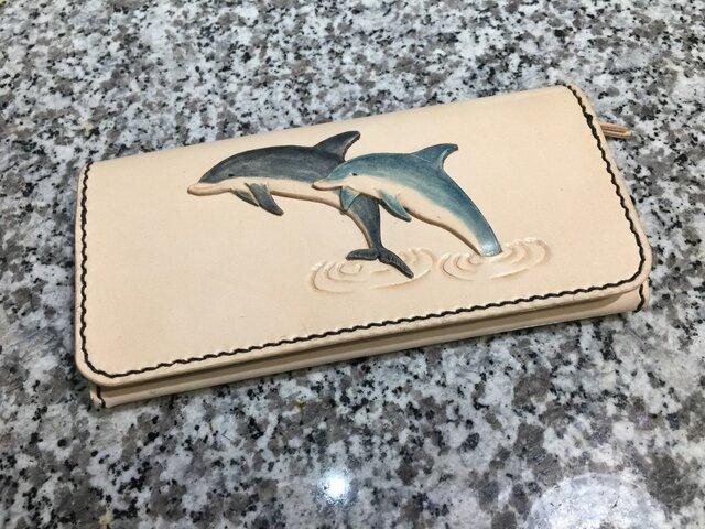 イルカ大好き長財布の画像1枚目