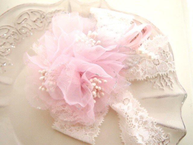 卒園・入学・結婚式に桜色の可愛いコサージュ・ピンクの画像1枚目