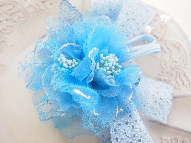 卒園・入学・結婚式に青空色の可愛いコサージュの画像1枚目