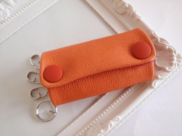 【オレンジ×アカ】ぶた革やわらかキーケース【受注生産】レザー 1616002の画像1枚目