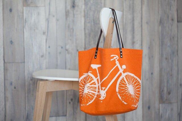 バイオウォッシュ帆布トートバッグ、自転車、タンジェリンの画像1枚目