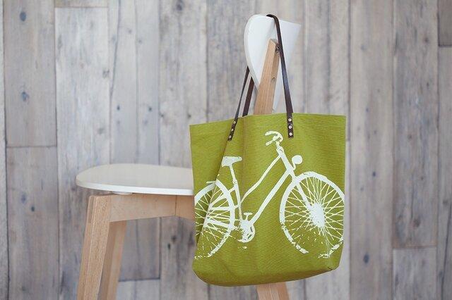 バイオウォッシュ帆布トートバッグ、自転車、若葉の画像1枚目