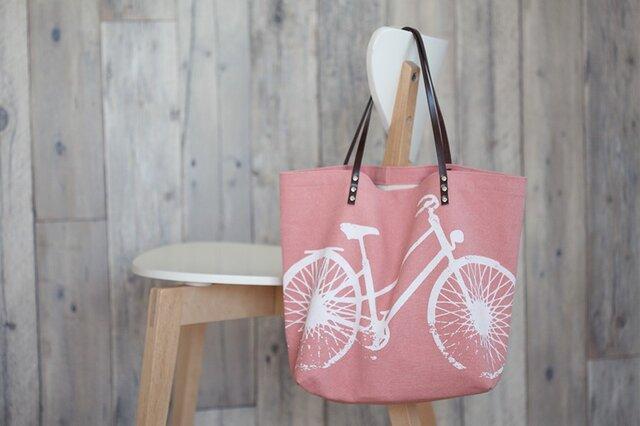 バイオウォッシュ帆布トートバッグ、自転車、さくらの画像1枚目