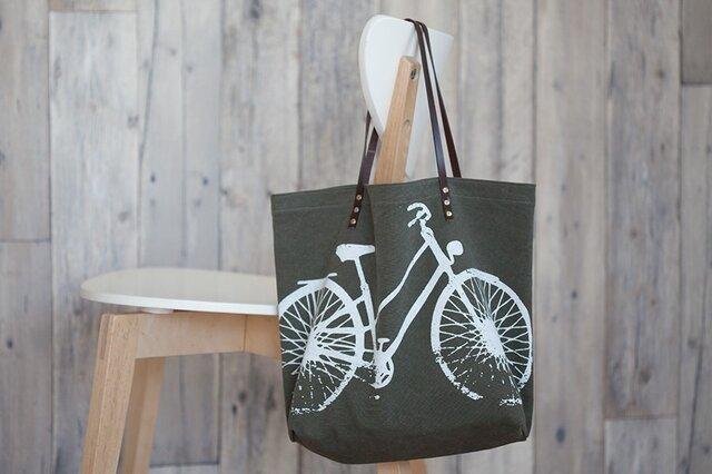 バイオウォッシュ帆布トートバッグ、自転車、アーミーの画像1枚目