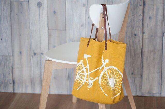 バイオウォッシュ帆布トートバッグ、自転車、マスタードの画像1枚目