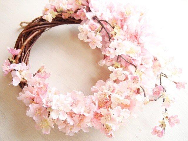 憧れの桜色満開♪桜の花のリースの画像1枚目