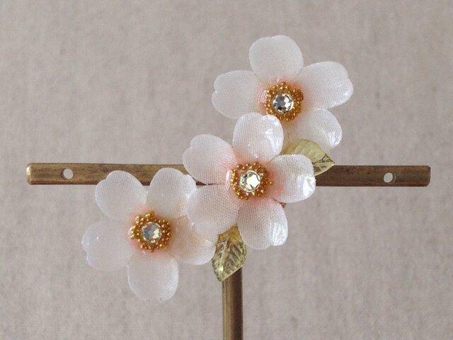 染め花を樹脂加工した桜の三日月型片耳イヤーカフ(ホワイトピンク)の画像1枚目
