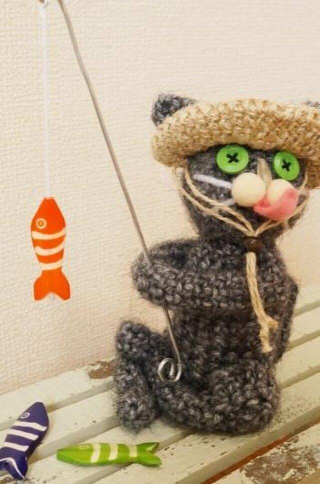 釣り猫(グレー)の画像1枚目