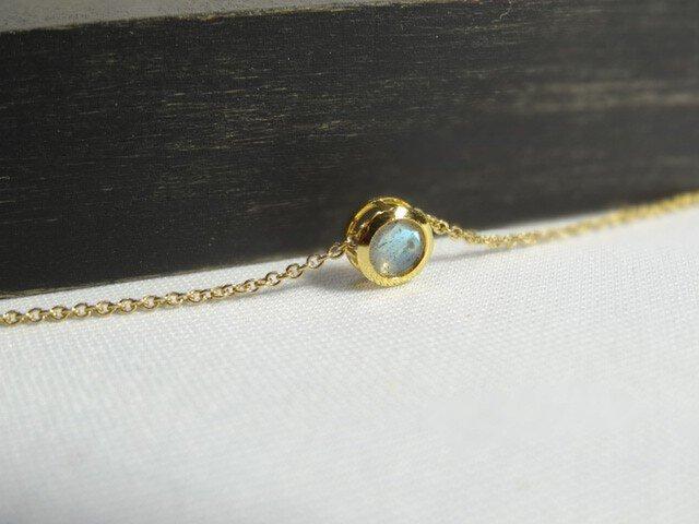 【K14gf】宝石質ラブラドライトのネックレス ラウンド5mmの画像1枚目