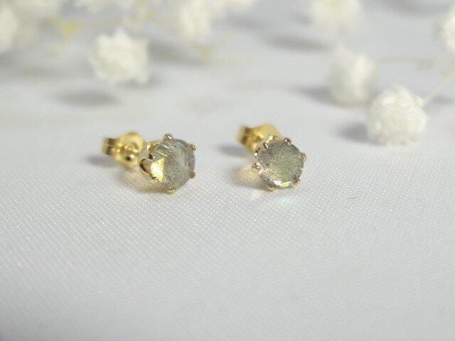 【K14gf】宝石質ラブラドライトのスタッドピアス ラウンド5mmの画像1枚目