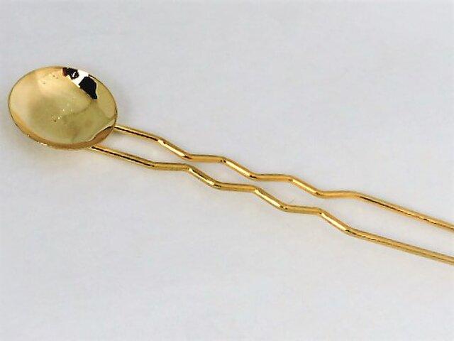 【かんざし】丸皿付(ゴールド )の画像1枚目