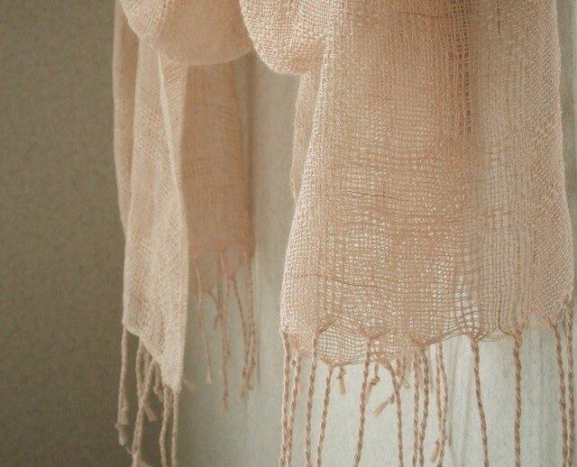 手織り麻ストール・・シナモンの画像1枚目