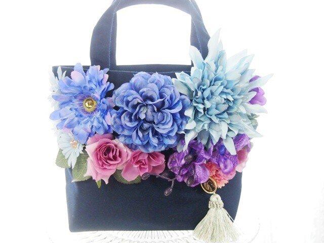 ビジューとお花のキラキラトートバックNB3の画像1枚目