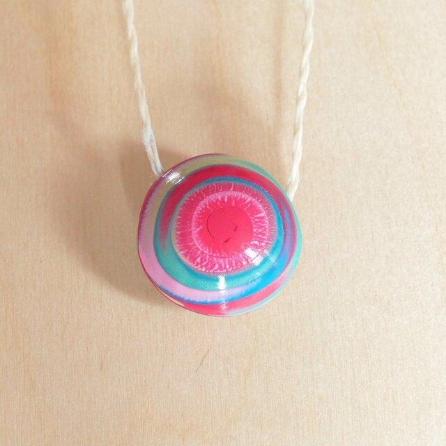 手作りビーズネックレス -SPIRAL: Pink x Blue 2-の画像1枚目
