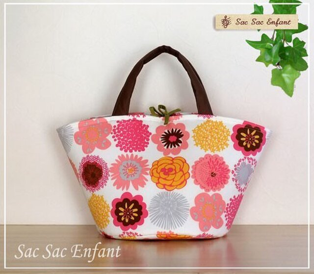 カゴ型バッグ Timbre Fleur(花スタンプ)ピンク×グレー Mサイズの画像1枚目