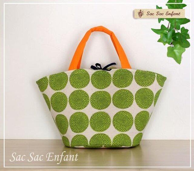 カゴ型バッグ Ki-Ku (キク) ライトグリーン&オレンジ Mサイズの画像1枚目