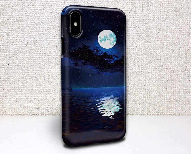 iphone ハードケース iPhoneX iphone8 iphone8 plus iphone7 星空 海に浮かぶ月の画像1枚目