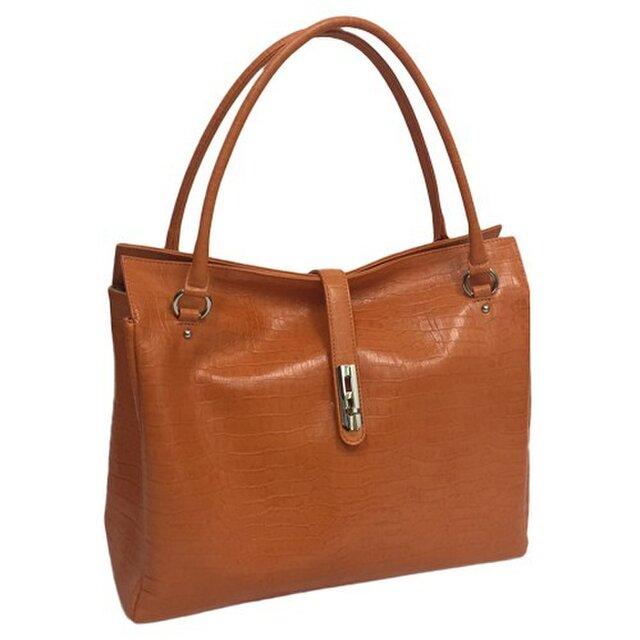 オール牛革 本革バッグ トートバッグ ハンドバッグ ヒネリ金具付き 軽量 リアルレザー クロコ型 オレンジの画像1枚目