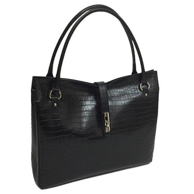 オール牛革 本革バッグ トートバッグ ハンドバッグ ヒネリ金具付き 軽量 リアルレザー クロコ型 ブラックの画像1枚目