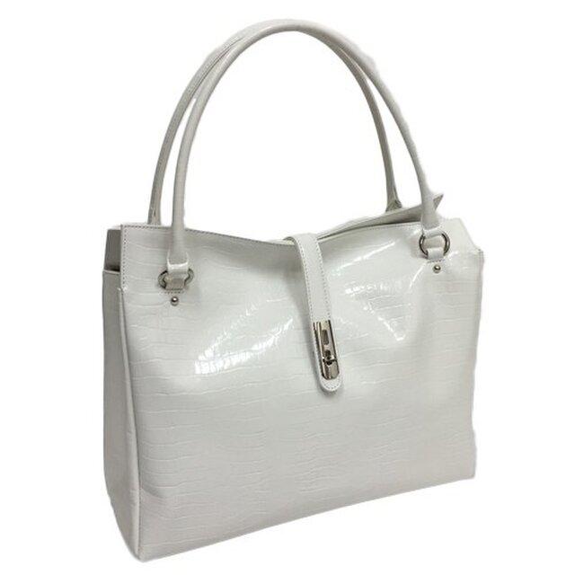 オール牛革 本革バッグ トートバッグ ハンドバッグ ヒネリ金具付き 軽量 リアルレザー クロコ型 ホワイトの画像1枚目