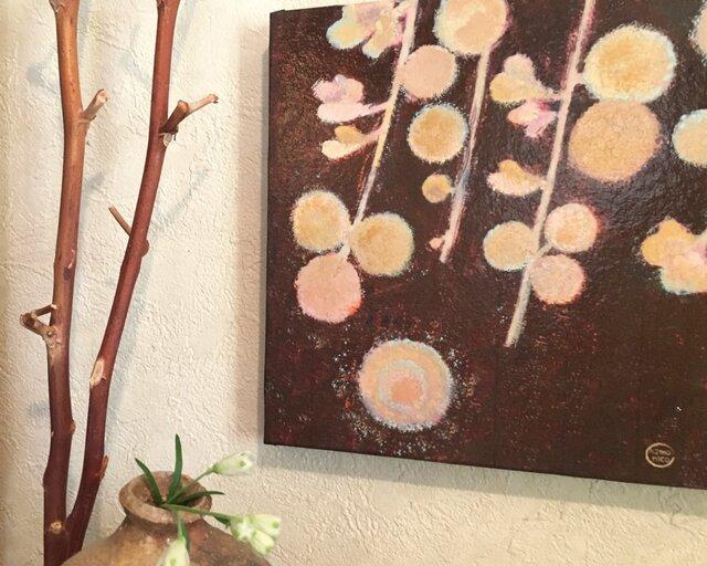 18x18cmパネル「月と萩(はぎ)」の画像1枚目