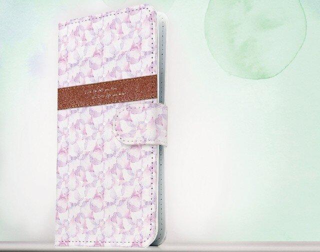 全機種対応 手帳型 スマホケース iPhoneXs iPhone9 ハート Love the life Pinkの画像1枚目