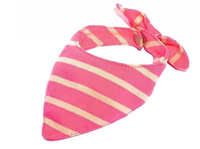 ネコ・イヌ用スカーフ ピンク×ベージュボーダーの画像1枚目