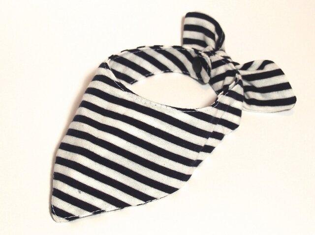 ネコ・イヌ用スカーフ 白黒ボーダーの画像1枚目