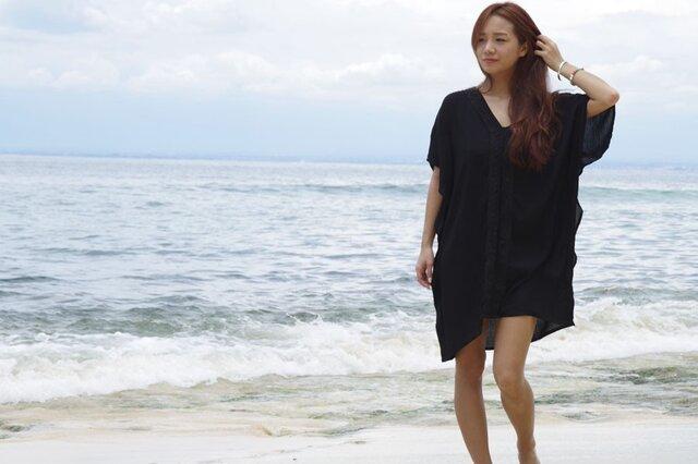 新作!カフタンビーチドレス<ブラック>の画像1枚目